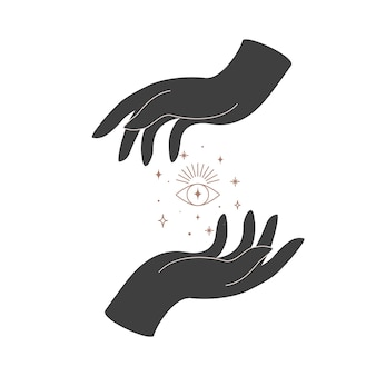 Alchemie esoterische mystische magische himmlische talisman mit frauenhänden und heiliger geometrie des auges. objekt des spirituellen okkultismus. vektor-illustration
