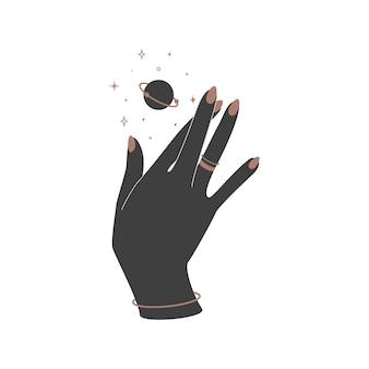Alchemie esoterische mystische magische himmlische talisman mit frauenhand mit ringen und heiliger geometrie des planeten. objekt des spirituellen okkultismus. vektor-illustration