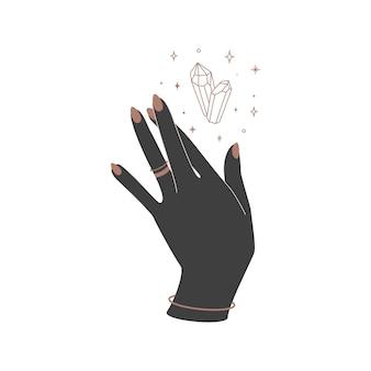 Alchemie esoterische mystische magische himmlische talisman mit frauenhand und hexenkristall heiliger geometrie. objekt des spirituellen okkultismus. vektor-illustration