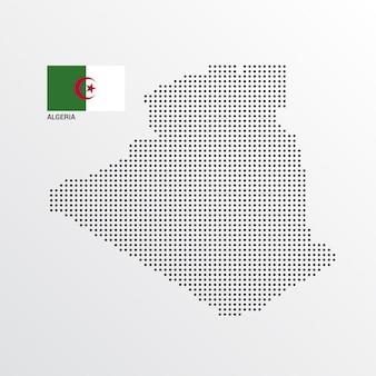 Algerien-kartenentwurf mit flaggen- und hellem hintergrundvektor
