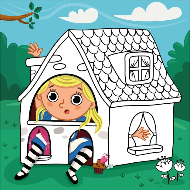 Alice sitzt in einem süßen kleinen haus malbuchaktivität für kinder