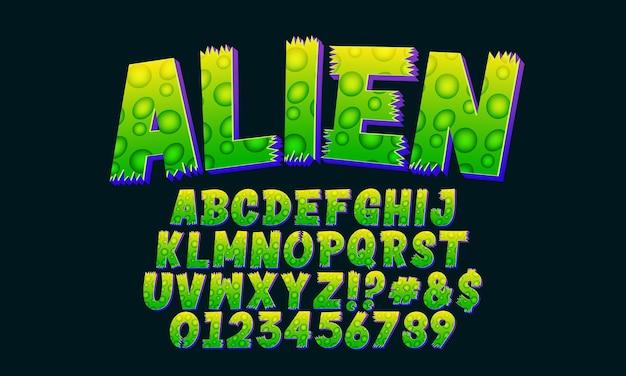 Alien-aufkleber-text-effekt grüner cartoon