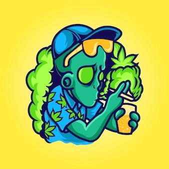 Alien, der cannabis raucht und saft trinkt
