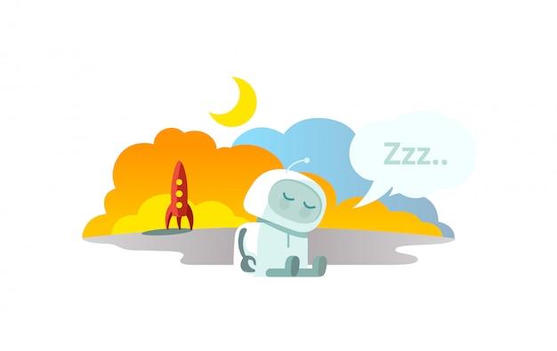 Alien der roboter ist mit einer rakete angekommen und schläft. schlafmodus winterschlaf sitzen. metapher - geschlossen.