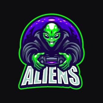 Alien-esport-maskottchen-cartoon-logo-vektor-vorlage