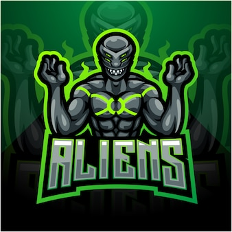 Alien esport maskottchen logo design