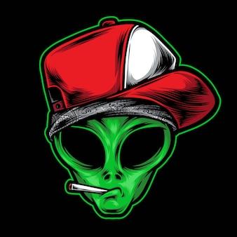 Alien gangster illustration