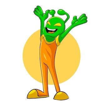 Alien glückliche maskottchen-vektor-illustration