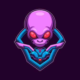 Alien head logo gaming-konzept