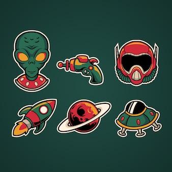 Alien illustration set