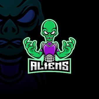 Alien maskottchen esport logo.