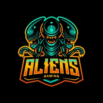 Alien maskottchen logo esport gaming