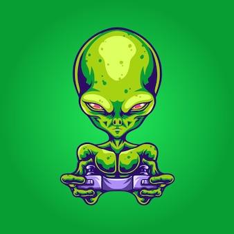 Alien maskottchen logo gamer illustration