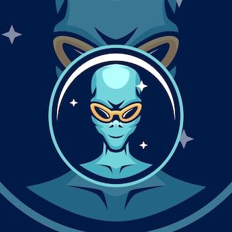 Alien maskottchen logo vorlagen