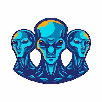 Alien-maskottchen-logo