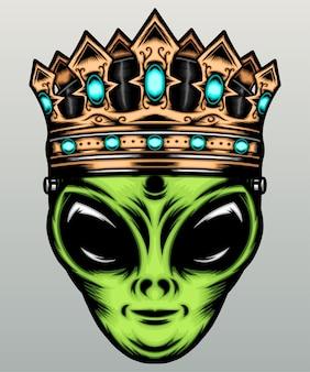 Alien mit goldener krone.