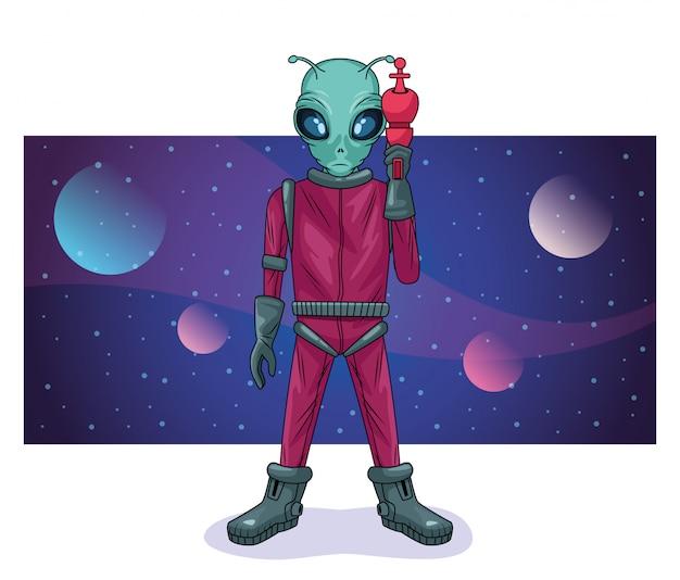 Alien mit waffe in der raumcharakterillustration