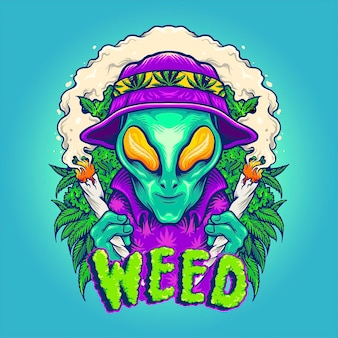 Alien smoking summer cannabis plants vektorillustrationen für ihre arbeit logo, maskottchen-waren-t-shirt, aufkleber und etikettendesigns, poster, grußkarten, werbeunternehmen oder marken.