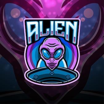 Alien sport maskottchen logo design