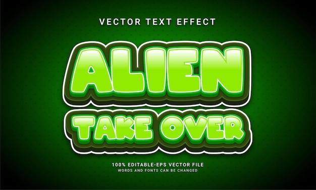 Alien übernehmen den bearbeitbaren abenteuerraum mit texteffekten