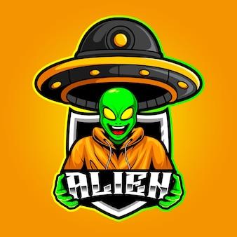 Alien- und ufo-maskottchen-esport-logo-vektor-illustration