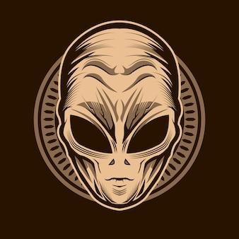 Alienkopfillustrationsentwurf