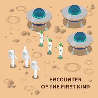 Aliens begegnung isometrische zusammensetzung