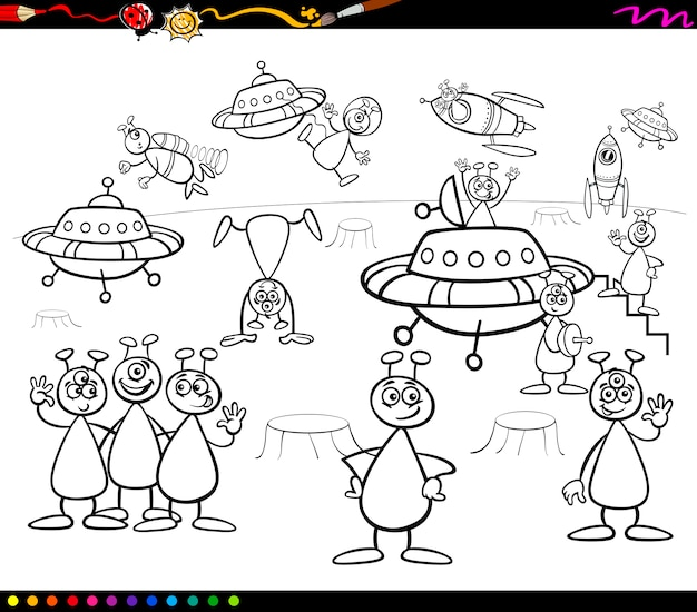 Aliens cartoon malbuch