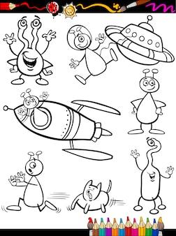 Aliens cartoon set für malbuch