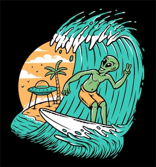 Aliens, die auf der strandillustration surfen