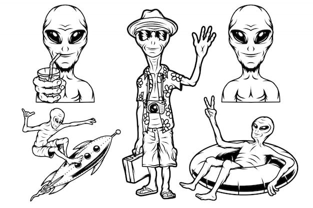 Aliens im urlaub, rakete und gummiring