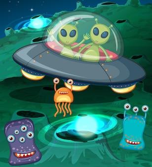 Aliens in ufo im weltraum