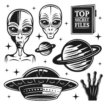 Aliens und ufo-satz paranormaler aktivität