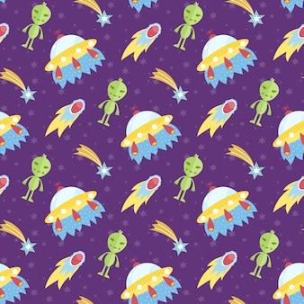 Aliens weltraum fliegende untertasse nahtlose muster