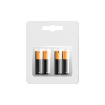 Alkalibatterien in der realistischen darstellung der verpackungsvorlage.