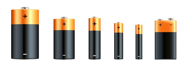 Alkalibatterien realistisches set. arten von batterien. größe - d, c, aa, aaa, aaaa, pp3. alkalibatterie mit unterschiedlicher größe eingestellt.