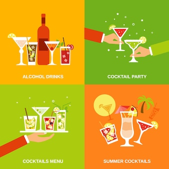 Alkohol cocktails icons flach