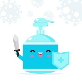 Alkohol gel niedlichen charakter. handwaschgel, krankheitspräventionskonzept und schutz gegen viren und bakterien, gesunder lebensstil lokalisiert auf weißer hintergrundillustration
