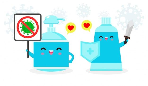 Alkohol gel niedlichen charakter. handwaschgel und schildstopp-coronavirus (2019-ncov), alkoholgelangriff covid-19, schutz gegen viren und bakterien, gesunder lebensstil isoliert auf weißem hintergrund