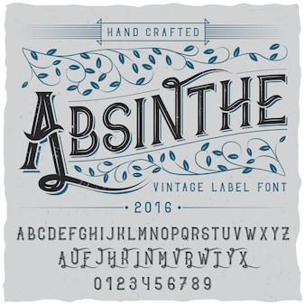 Alkohol handgefertigtes plakat mit wortabsinth und alphabet