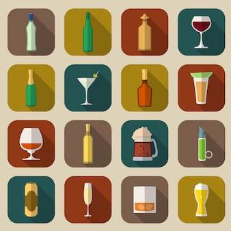 Alkohol icons flach