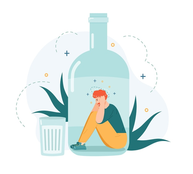 Alkoholabhängigkeit. betrunkener mann in alkoholflasche