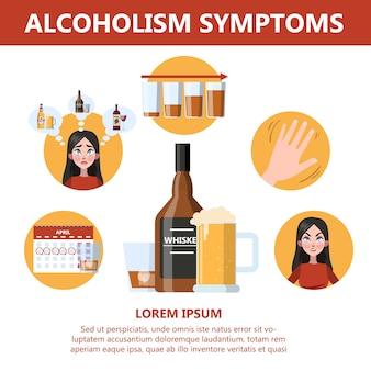 Alkoholabhängigkeitssymptome. gefahr durch alkoholismus infografik