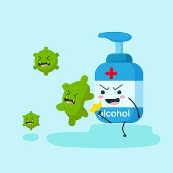 Alkoholcharakter im flachen kick-coronavirus. pump-, spray- oder gelflasche. illustrationsdesignkonzept von gesundheitswesen und medizin. stoppen sie das corona-virus und das covid-19-konzept.
