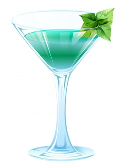 Alkoholcocktail mit grünen minzblättern