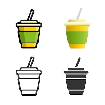 Alkoholfreies getränk farbiger ikonensatz