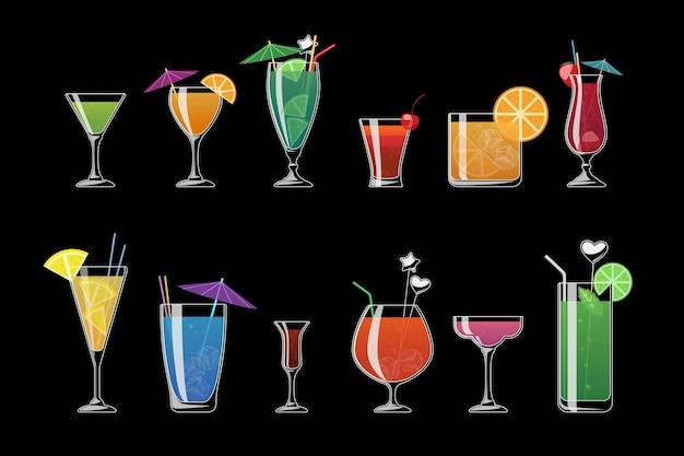 Alkoholgetränke und strandcocktails lokalisiert auf schwarzem hintergrund. alkoholcocktail mit eis, illustration, alkoholkaltes getränk für strand
