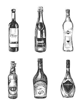 Alkoholische getränke in gezeichneter art der skizze hand