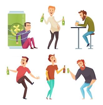 Alkoholischer charakter. missbrauch und süchtige manndrogen und schnapskarikaturillustrationen