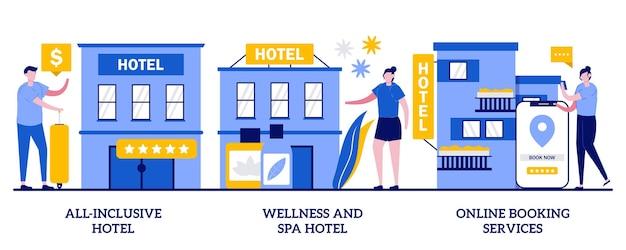 All-inclusive-hotel, wellness- und spa-hotel, online-buchungsservice-konzept mit kleinen leuten. hotelgewerbe abstrakte vektor-illustration-set. luxushotels, zimmerreservierungsmetapher.